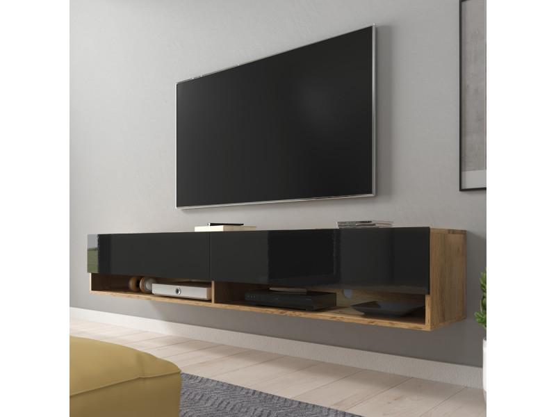 Meuble tv - wander - 180 cm - chêne wotan / noir brillant