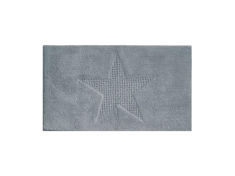 Tapis de bain 100% coton étoile gris - 100x60cm