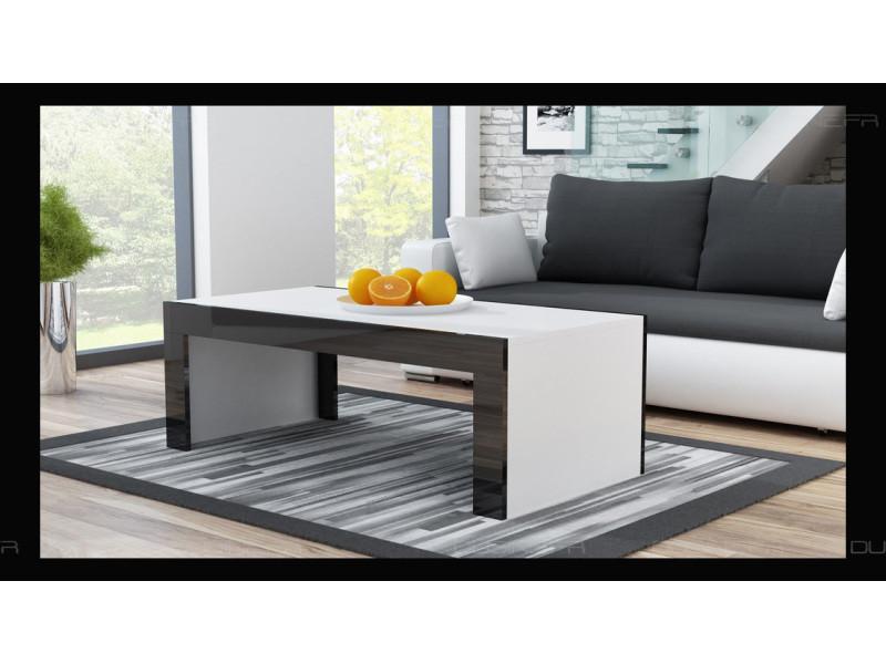 Grande table basse spider blanc mat avec bordures noir laquées