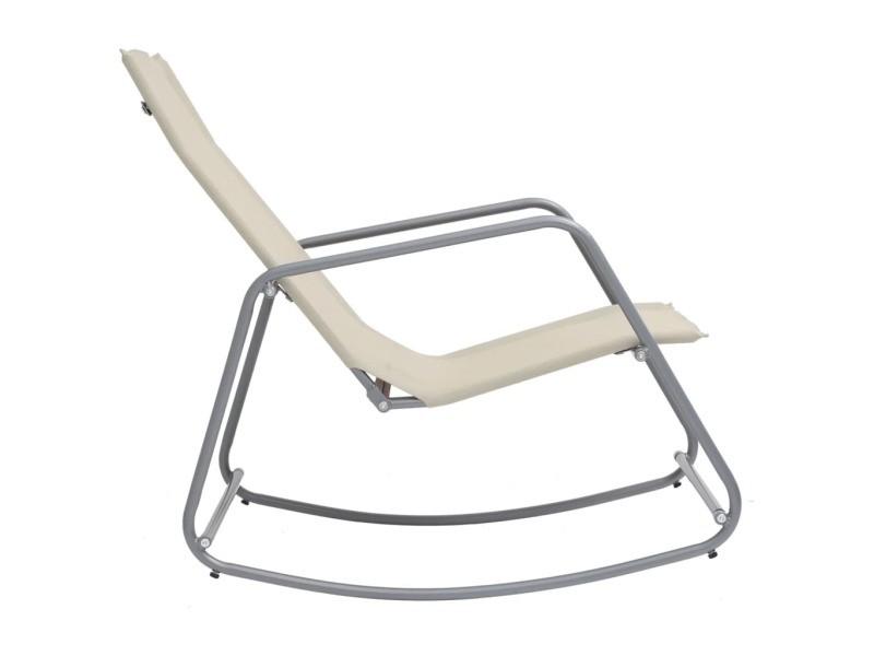 Vidaxl chaise à bascule de jardin crème 95x54x85 cm textilène