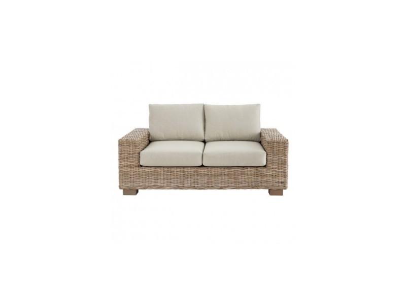 Canapé 2 places d'extérieur rotin tissu 158cm kilt