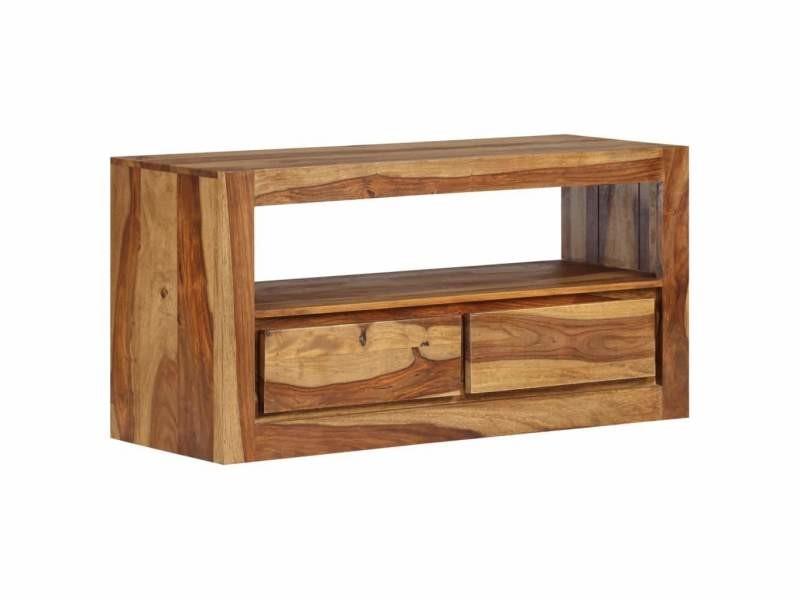 Meuble télé buffet tv télévision design pratique bois massif de sesham 80 cm helloshop26 2502181