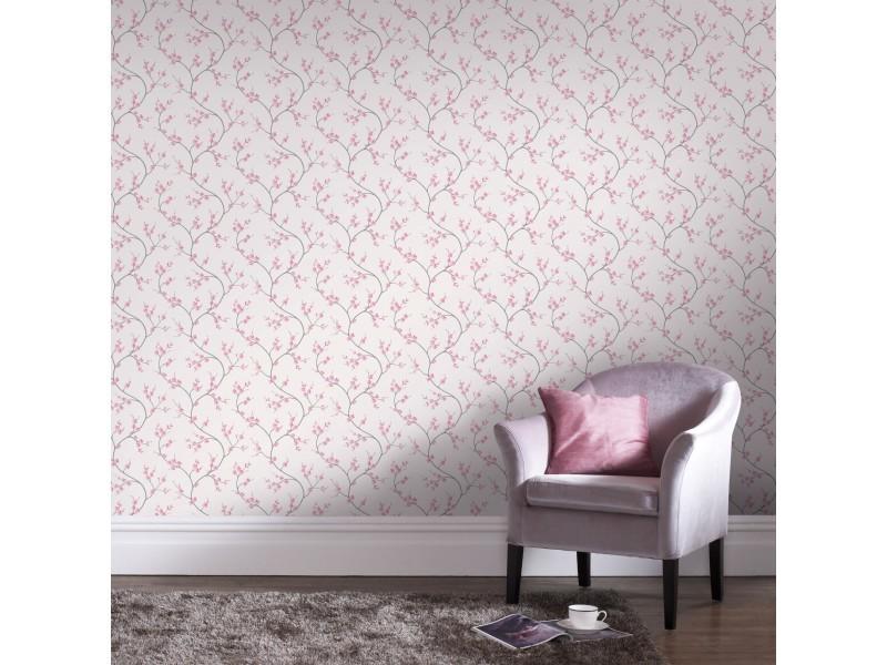 Papier peint intissé bailey 1005 x 52cm rose, blanc 100032