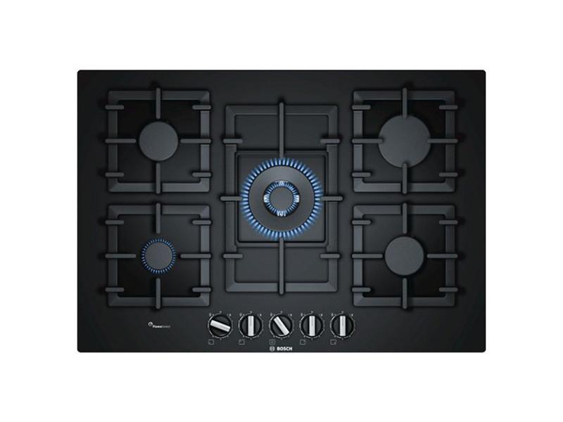 Plaques de cuisson esthetique plaque au gaz bosch ppq7a6b90 11500w 75 cm noir verre (5 feux à gaz)