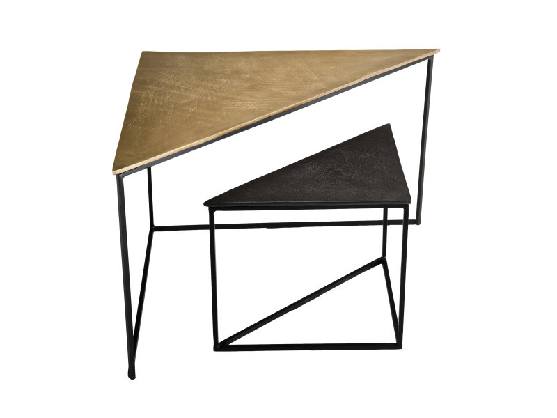 Set de 2 tables gigognes triangles aluminium doré et noir - pieds métal