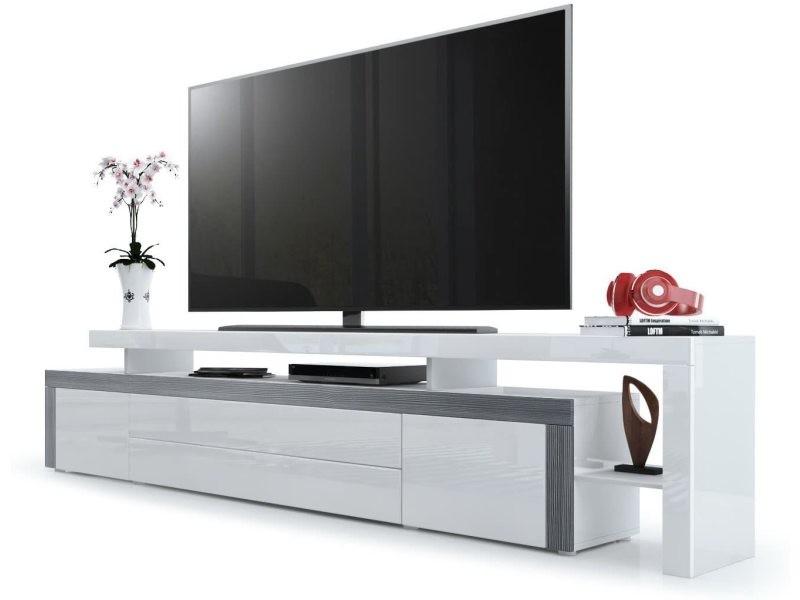 Meuble tv laqué blanc / avola-anthracite 227 cm
