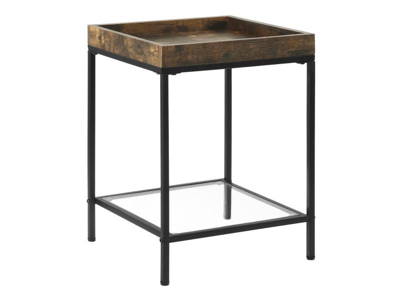 Table d'appoint pour salon table carrée design avec étagère en verre bouts de canapé de salon plateau en panneau de particules pieds en acier 55 x 40 x 40 cm noir transparent effet bois foncé [en.casa]