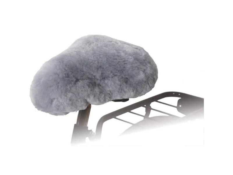 Icaverne - couvre-selles pour vélos ligne willex housse de selle de vélo peau de mouton gris 30135