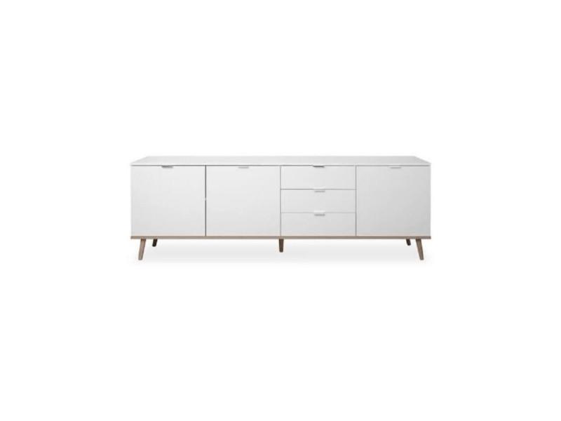 Goteborg bahut - style scandinave - décor chene et blanc - l 200 cm GOTEBORG2742