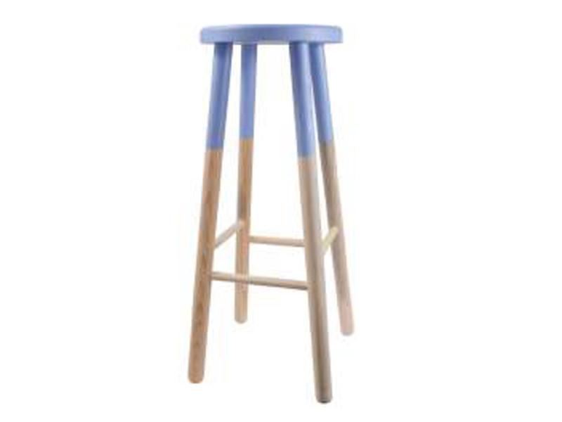 Tabouret de bar rond bicolore en pin massif coloris bleu mat - dim : diam 28 x h72 .-pegane-