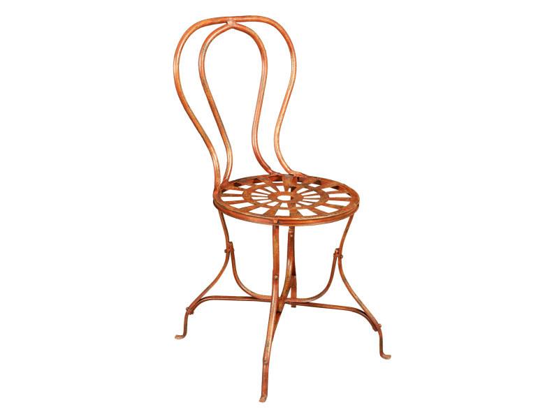 Chaise de salle à manger de jardin d'extérieur en fer forgé finition rouge antique