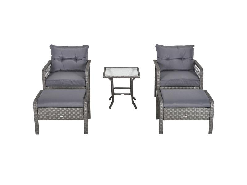 Lot de 2 fauteuils de jardin grand confort repose-pied table basse résine tressée et filaire imitation rotin coussins gris