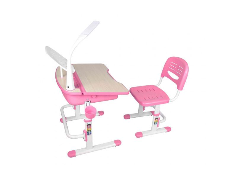 Bureau enfant ajustable en hauteur rose 301 chaise - terre de nuit