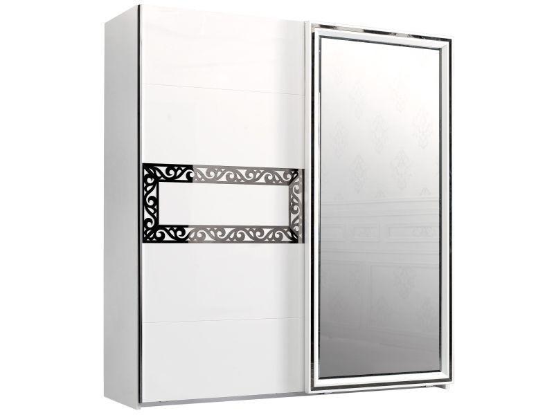 armoire 202x220 cm 1 porte miroir coulissante 1 porte. Black Bedroom Furniture Sets. Home Design Ideas