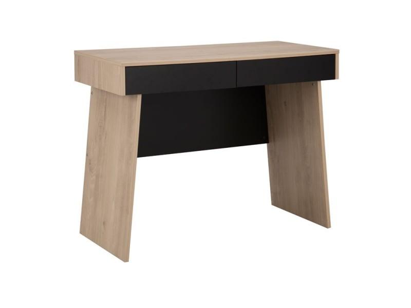 Bureau tiroirs bois clair noir liam l l h