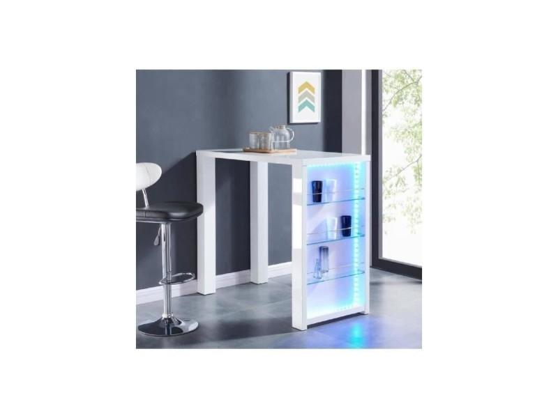 Flash table bar avec led de 4 a 6 personnes style contemporain blanc laqué brillant - l 120 x l 60 cm FLASH06