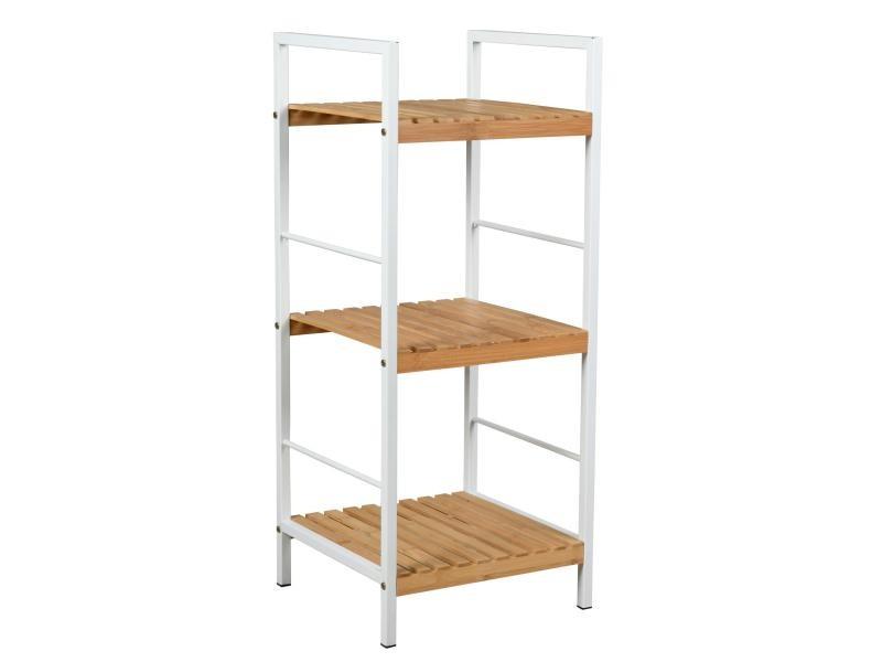 Étagère 3 niveaux en métal blanc et bambou ajouré 33 x 32 x 79 cm