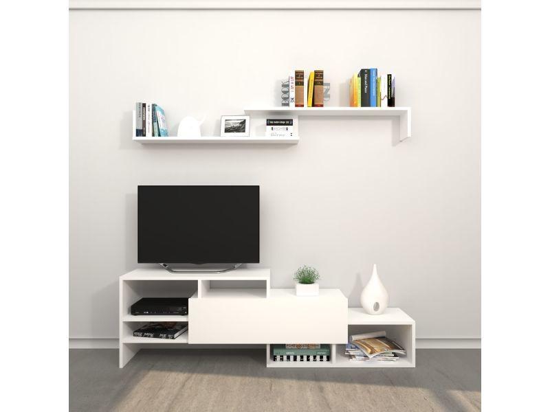 Meuble tv avec étagère design fenice - l. 150 x h. 45 cm - blanc