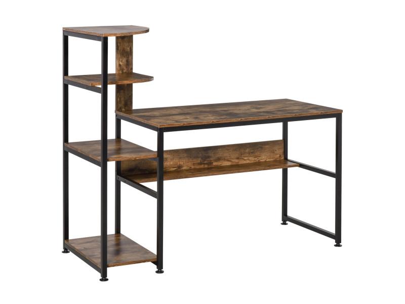 Bureau informatique design industriel avec bibliothèque 4 étagères panneaux particules aspect vieux bois métal noir