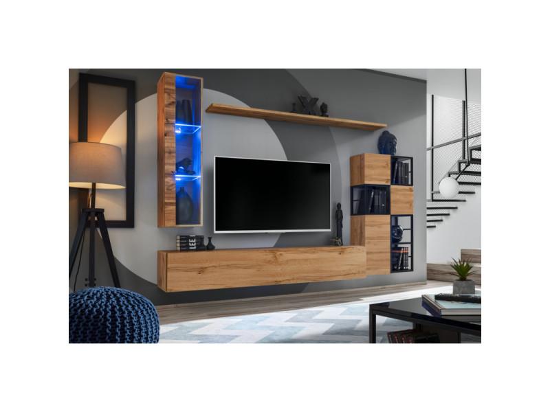 Ensemble meuble tv mural switch met ii - l 250 x p 40 x h 170 cm - marron