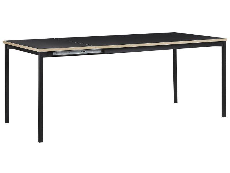 Table de salle à manger extensible noire 140 / 180 x 90 cm avis 246284