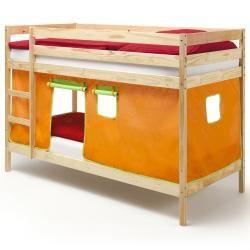 Lits superposés naturel felix, rideaux orange/vert