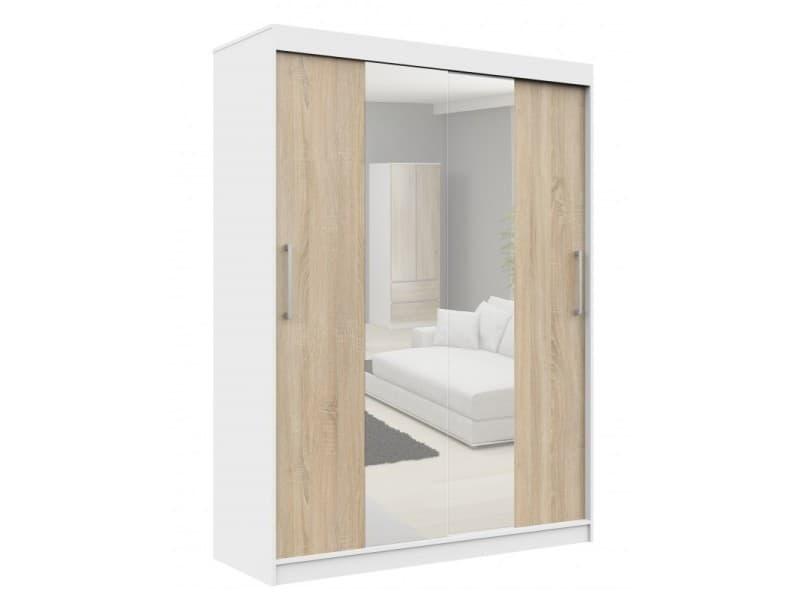 Helia | armoire à portes coulissantes + grand miroir chambre couloir salon | 200x150x60cm | armoire penderie moderne - blanc/sonoma