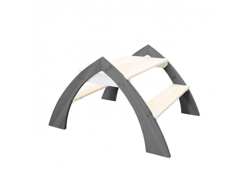 Axi table picnic kylo xl gris blanc avec parasol bleu 119x108x75cm A031.022.00