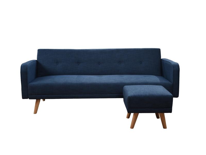 hawai canap clic clac scandinave 3 places pouf l 210x82x81 cm tissu conforama. Black Bedroom Furniture Sets. Home Design Ideas