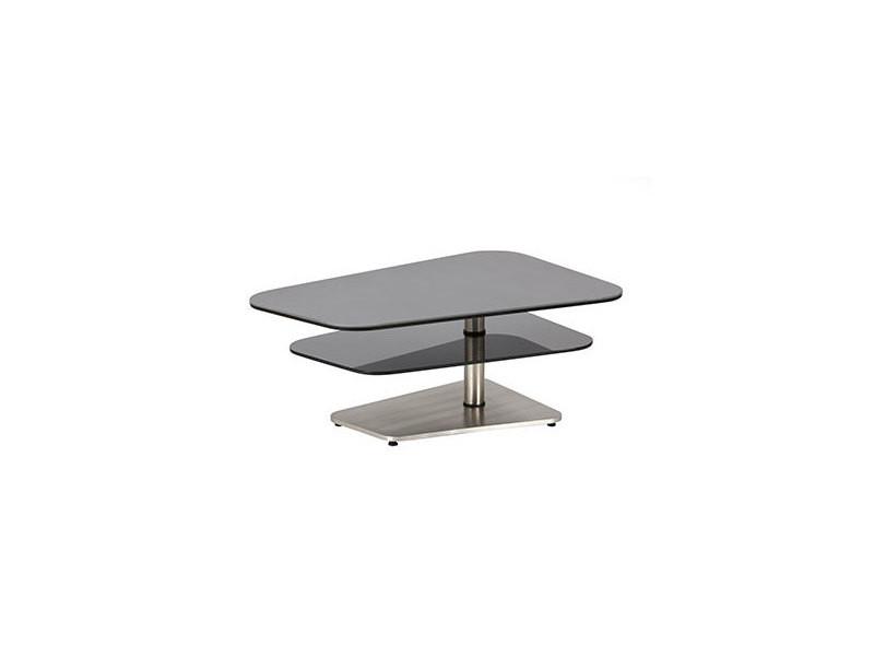 Table basse double plateaux en verre aspect anthracite