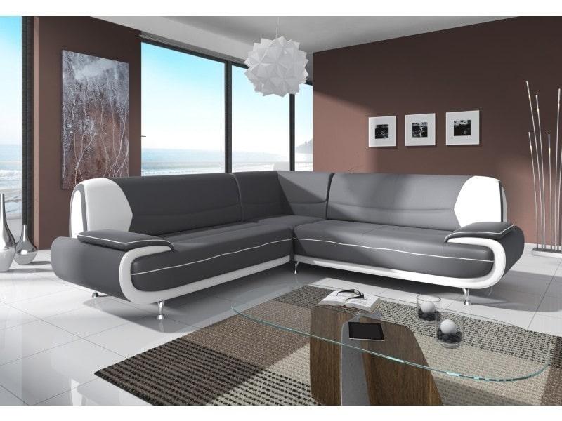 Canapé d'angle design gris et blanc marita xl-