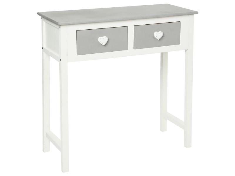 console l once 2 tiroirs coeur atmosphera vente de atmosphera conforama. Black Bedroom Furniture Sets. Home Design Ideas