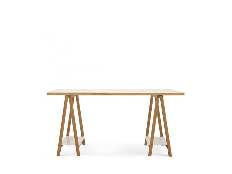 bureau tr teaux blanc et bois highbury couleur blanc ch ne 164201008012 vente de. Black Bedroom Furniture Sets. Home Design Ideas