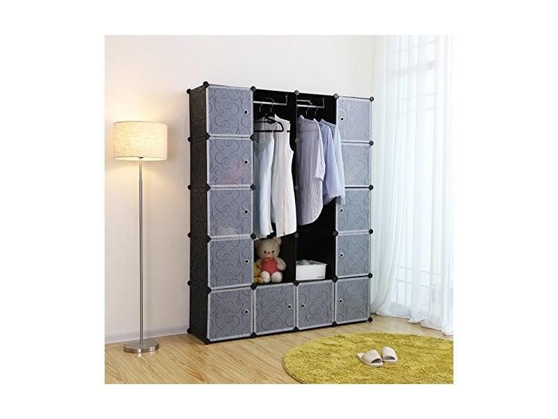 Songmics xxl armoire etagère de rangement en plastique noire imprimée 4 x 5 cubes grande capacité:143 x 36 x 178 cm (l x l x h) lpc30h