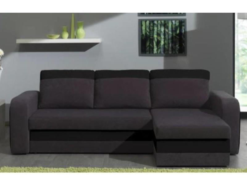 Canapé d'angle convertible nyx 140cm bi-matière gris et noir 20100865614