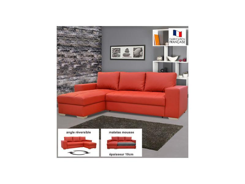 Canapé d'angle réversible convertible en pu coloris rouge - elvis