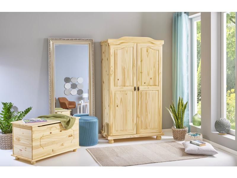 Armoire Penderie Dressing Rangement Chambre Vintage 2 Portes