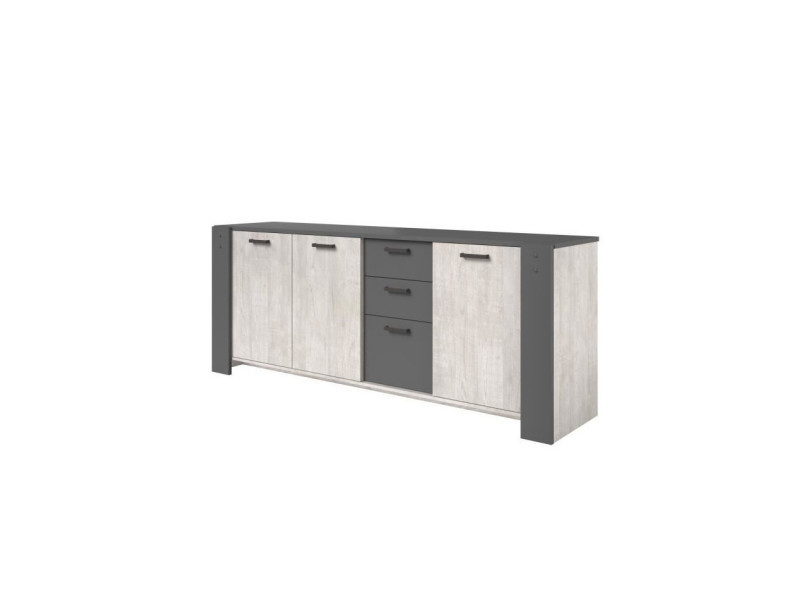 Loft enfilade 3 portes et 3 tiroirs - décor gris - l 220 x p 52 x h 86,5 cm 0197E3PT