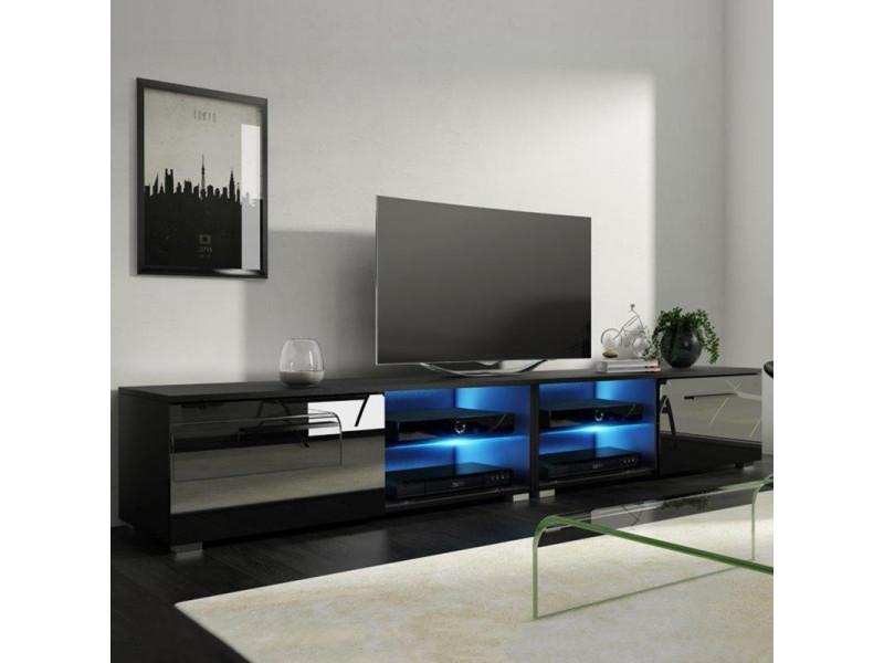 Meuble Tv Banc Tv Tenus Double 200 Cm Noir Mat Noir Brillant Avec Led Vente De Meuble Tv Conforama