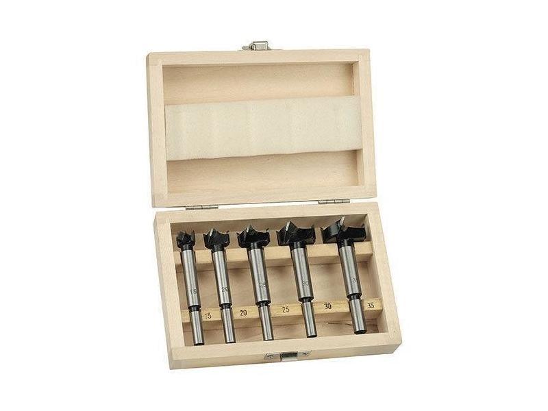Coffret de 5 fraises à façonner forstner bois mèche de ø 15/20/25/30/35 mm outils atelier bricolage helloshop26 3417032