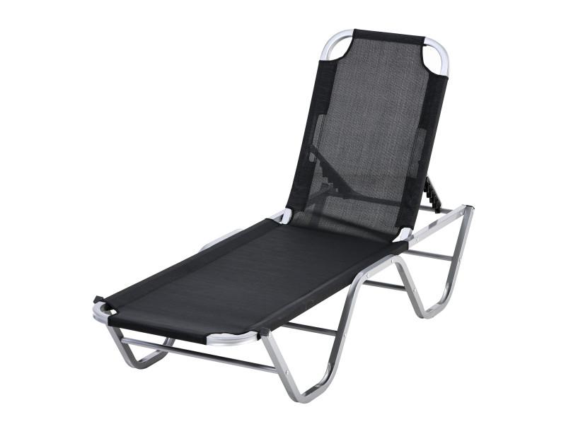 Bain de soleil transat design contemporain dossier inclinable multi-positions alu textilène noir