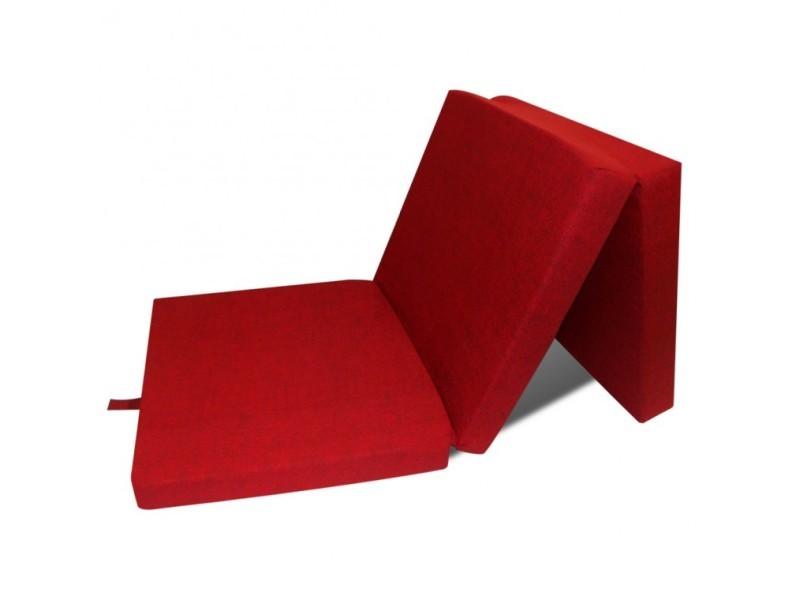 Superbe Matelas En Mousse Pliable Rouge 190 X 70 X 9 Cm Neuf Vente
