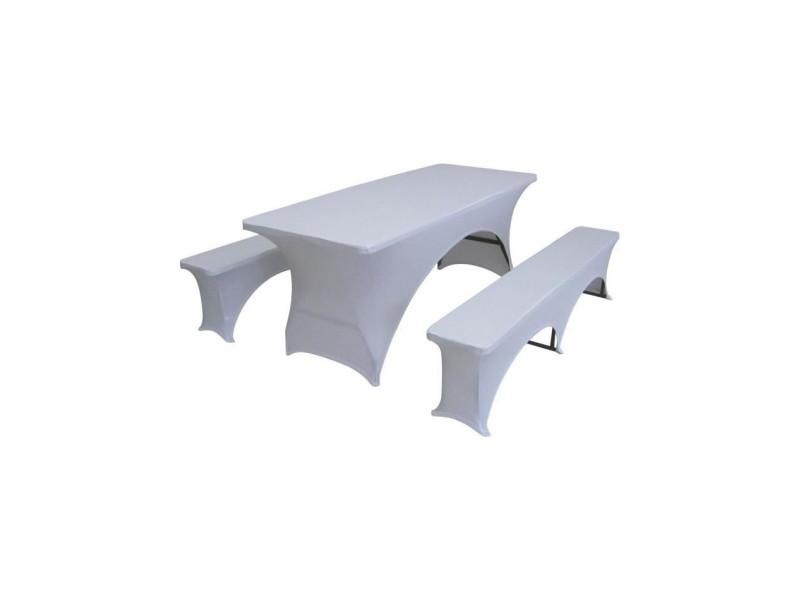 Lot de 3 couvertures pour la table et bancs mis a 180 cm set - tissu : 10% spandex, 90% polyester, 190 gsm - blanc FCH1802
