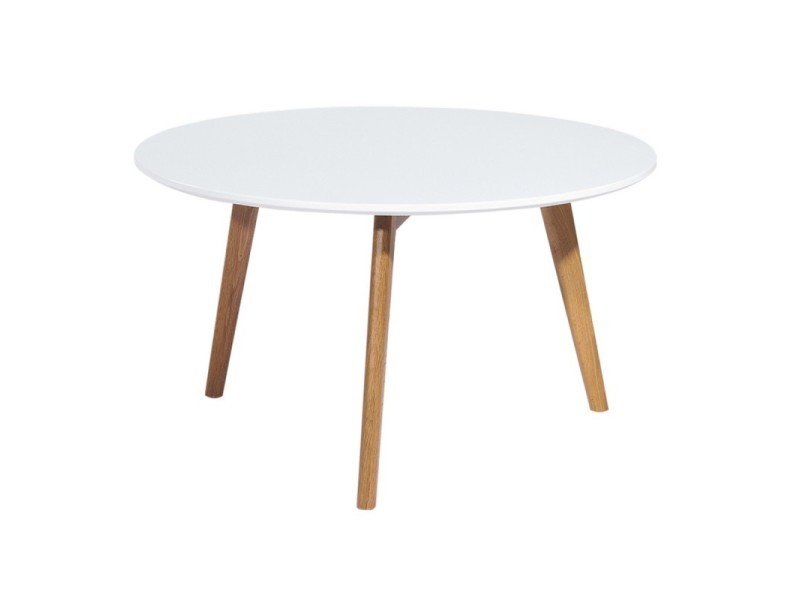 Table basse ronde 90x45 cm blanc - alix
