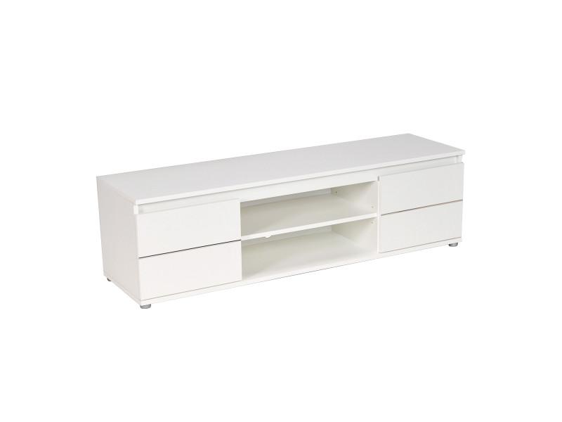 Meuble Tv Vidéo Como 140 Cm 2 Portes 1 Niche Blanc Vente De