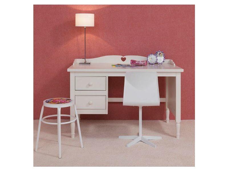 Bureau enfant design rustique à tiroirs blanc p co emmi