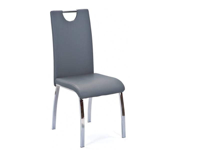 Lot de 2 chaises de table à manger gris en cuir, 44 x 54 x 102 cm -pegane-