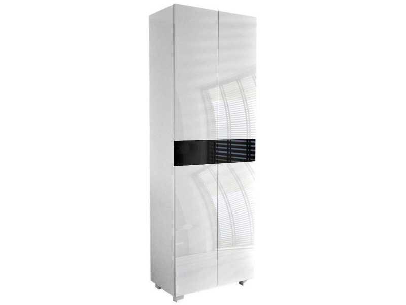 Meuble de salle de bain blanc mat / portes laquées blanc / noir 170 x 60 x 34 cm