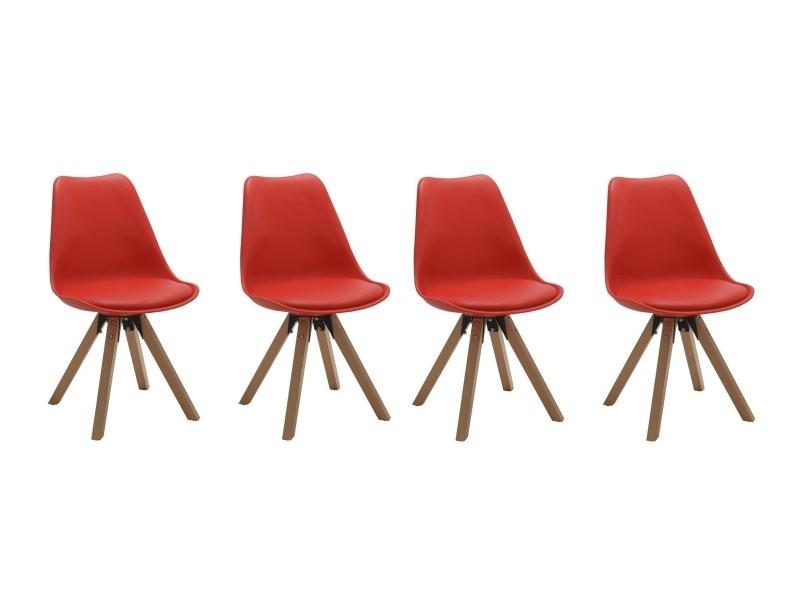 Set De 4 Chaises De Salle A Manger Design Simili Cuir Rouge Pieds