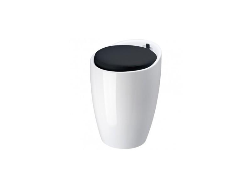 Tabouret pouf pop blanc coussin noir
